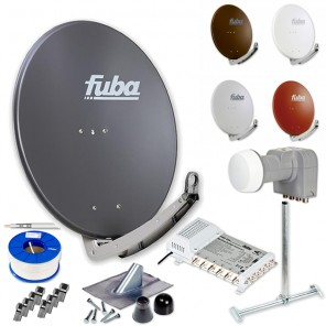 Fuba DAA 780 HD Sat Anlage 6 Teilnehmer | Fuba DAA 780 + LNB + 5/6 Multischalter + Dachsparrenhalter + Montageset + 100m KKE 740 Brandschutz-Koaxialkabel inkl. F-Stecker
