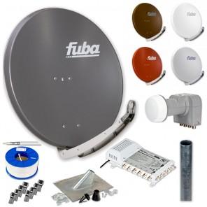 Fuba DAA 850 HD Sat Anlage - 6 Teilnehmer (FMS 506) - Sat Anlage bestehend aus DAA 850 in Ihrer Wunschfarbe + DEK 406 Quattro LNB + FMS 506 + Antennenmast Ihrer Wahl + DMZ 500 Mast-Zubehör-Set + 100m GKA 740 + 14 x OVZ 030 F-Stecker