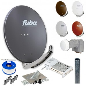 Fuba DAA 780 HD Sat Anlage - 6 Teilnehmer (FMS 506) - Sat Anlage bestehend aus DAA 780 in Ihrer Wunschfarbe + DEK 406 Quattro LNB + FMS 506 + Antennenmast Ihrer Wahl + DMZ 500 Mast-Zubehör-Set + 100m GKA 740 + 14 x OVZ 030 F-Stecker