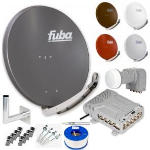 Fuba DAA 850 HD Sat Anlage 8 Teilnehmer | Fuba DAA 850 + LNB + 5/8 Premium Multischalter + Winkelwandhalter + Schrauben-Dübel-Set + 100m KKE 740 Brandschutz-Koaxialkabel inkl. F-Stecker