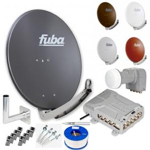 Fuba DAA 780 HD Sat Anlage 8 Teilnehmer | Fuba DAA 780 + LNB + 5/8 Premium Multischalter + Winkelwandhalter + Schrauben-Dübel-Set + 100m KKE 740 Brandschutz-Koaxialkabel inkl. F-Stecker