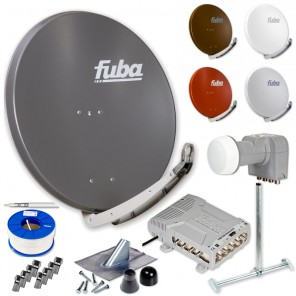 Fuba DAA 850 HD Sat Anlage 8 Teilnehmer | Fuba DAA 850 + LNB + 5/8 Premium Multischalter + Dachsparrenhalter + Montageset + 100m KKE 740 Brandschutz-Koaxialkabel inkl. F-Stecker