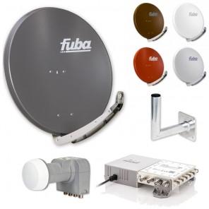 Fuba Sat-Anlage 8 Teilnehmer | erweiterbar bis 48 Teilnehmer | DAA850 + DEK406 + FMG508 + Wandhalter | HDTV-, 4K- und 3D-kompatibel