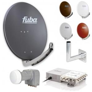 Fuba Sat-Anlage 8 Teilnehmer | erweiterbar bis 48 Teilnehmer | DAA780 + DEK407 + FMG508 + Wandhalter | HDTV-, 4K- und 3D-kompatibel