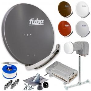 Fuba DAA 850 HD Sat Anlage 12 Teilnehmer | Fuba DAA 850 + LNB + 5/12 Premium Multischalter + Dachsparrenhalter + Montageset + 100m KKE 740 Brandschutz-Koaxialkabel inkl. F-Stecker