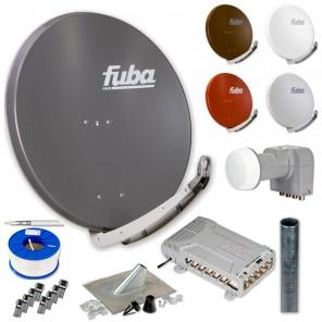 Fuba DAA 850 HD Sat Anlage - 12 Teilnehmer (FMQ 512) - Sat Anlage bestehend aus Fuba DAA 850 in Ihrer Wunschfarbe + Fuba DEK 406 Quattro LNB + Fuba FMQ 512 + Antennenmast Ihrer Wahl + DMZ 500 Mast-Zubehör-Set + 100m GKA 740 + 20 x OVZ 030 F-Stecker