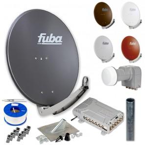 Fuba HD Sat-Anlage 12 Teilnehmer | DAA 780 Sat-Antenne + DEK 407 + FMQ 512 + Antennenmast + Koaxialkabel + Stecker
