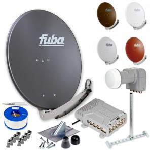 Fuba DAA 780 HD Sat Anlage 8 Teilnehmer | Fuba DAA 780 + LNB + 5/8 Premium Multischalter + Dachsparrenhalter + Montageset + 100m KKE 740 Brandschutz-Koaxialkabel inkl. F-Stecker