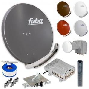Fuba DAA 850 HD Sat Anlage - 8 Teilnehmer (FMQ 508) - Sat Anlage bestehend aus Fuba DAA 850 in Ihrer Wunschfarbe + Fuba DEK 406 Quattro LNB + Fuba FMQ 508 + Antennenmast Ihrer Wahl + DMZ 500 Mast-Zubehör-Set + 100m GKA 740 + 16 x OVZ 030 F-Stecker