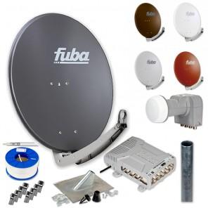 Fuba DAA 780 HD Sat Anlage 8 Teilnehmer | Fuba DAA 780 + LNB + 5/8 Premium Multischalter + Antennenmast + Mastmontageset + 100m KKE 740 Brandschutz-Koaxialkabel inkl. F-Stecker
