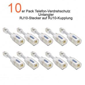 10-er Pack Telefonkabel-Verdrehschutz | RJ10-Stecker auf RJ10-Kupplung | TAP8090