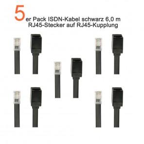 5-er Pack ISDN-Kabel 6 Meter schwarz RJ45-Stecker/Kupplung | vergoldete Kontakte