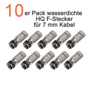 10er Pack wasserdichte, schraubbare HQ F-Stecker für 7,0 mm Koaxialkabel