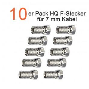 10er Pack HQ F-Stecker schraubbar für 7,0 mm Sat-Koaxialkabel