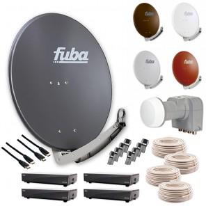 Fuba DAA 780 HD Sat Anlage - 4 Teilnehmer (DEK 416) - Sat Anlage bestehend aus Fuba DAA 780 in Ihrer Wunschfarbe + Fuba DEK 416 Quad-LNB + 4 x 20 m Fuba GKA 300 Koaxialkabel + 8 x Fuba OVZ 035 F-Stecker + 4 x Fuba ODS 200 HD Sat-Receiver und 4 x Fuba FHD