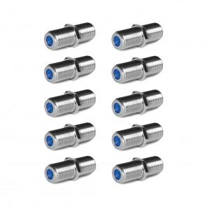 10 Stück Cabelcon F-81-HQ-1 NiTin F-Verbinder | F-Buchse auf F-Buchse, F-Doppelkupplung