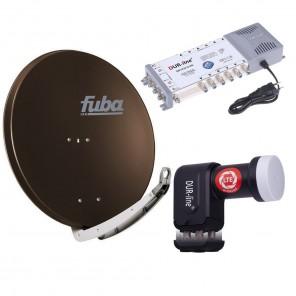 Digital Sat Anlage 12 Teilnehmer | Fuba DAA 850 B Sat-Schüssel 85cm Alu braun + DUR-line +Ultra Quattro LNB + DUR-line MS 5/12 G-HQ Sat Multischalter 12 Teilnehmer (DVB-S2, HDTV, UHD/4K, 3D)