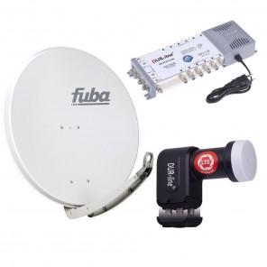 Digital Sat Anlage 12 Teilnehmer | Fuba DAA 850 G Sat-Schüssel 85cm Alu hellgrau + DUR-line +Ultra Quattro LNB + DUR-line MS 5/12 G-HQ Sat Multischalter 12 Teilnehmer (DVB-S2, HDTV, UHD/4K, 3D)