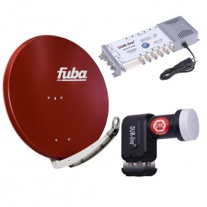Digital Sat Anlage 12 Teilnehmer | Fuba DAA 850 R Sat-Schüssel 85cm Alu ziegelrot + DUR-line +Ultra Quattro LNB + DUR-line MS 5/12 G-HQ Sat Multischalter 12 Teilnehmer (DVB-S2, HDTV, UHD/4K, 3D)
