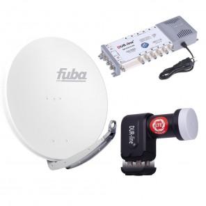 Digital Sat Anlage 12 Teilnehmer | Fuba DAA 850 W Sat-Schüssel 85cm Alu weiß + DUR-line +Ultra Quattro LNB + DUR-line MS 5/12 G-HQ Sat Multischalter 12 Teilnehmer (DVB-S2, HDTV, UHD/4K, 3D)