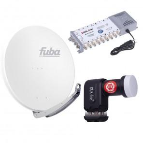 Digital Sat Anlage 16 Teilnehmer | Fuba DAA 850 W Sat-Schüssel 85cm Alu weiß + DUR-line +Ultra Quattro LNB + DUR-line MS 5/16 G-HQ Sat Multischalter 16 Teilnehmer (DVB-S2, HDTV, UHD/4K, 3D)