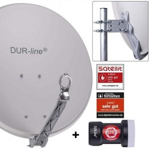 DUR-line 1-Teilnehmer Sat-Anlage | Set bestehend aus DUR-line Select 60/65 G hellgrau + DUR-line +Ultra Single LNB