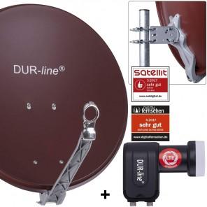 DUR-line 2-Teilnehmer Sat-Anlage | Set bestehend aus DUR-line Select 60/65 R ziegelrot + DUR-line +Ultra Twin LNB