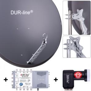 DUR-line Komplettset 8 Teilnehmer | DUR-line Select 85/90A Alu Satellitenschüssel 85cm/90cm anthrazit + Quattro LNB + Multischalter 8 Teilnehmer (DVB-S2, 4K, 3D)