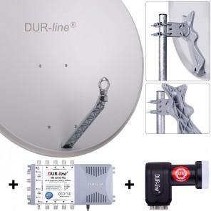 DUR-line Komplettset 8 Teilnehmer | DUR-line Select 85/90G Alu Satellitenschüssel 85cm/90cm hellgrau + Quattro LNB + Multischalter 8 Teilnehmer (DVB-S2, 4K, 3D)
