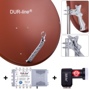 DUR-line Komplettset 8 Teilnehmer | DUR-line Select 85/90R Alu Satellitenschüssel 85cm/90cm rot + Quattro LNB + Multischalter 8 Teilnehmer (DVB-S2, 4K, 3D)