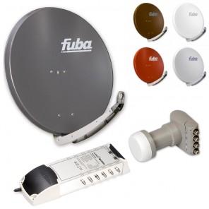 12-Teilnehmer-Sat-Anlage: Fuba DAA 850 in Ihrer Wunschfarbe + Quattro LNB + 5 auf 12 Multischalter