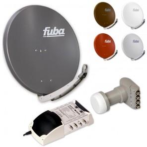 8-Teilnehmer-Sat-Anlage: Fuba DAA 850 in Ihrer Wunschfarbe + Quattro LNB + 5 auf 8 Multischalter
