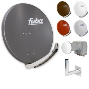 Fuba DAA 850 HD Sat Anlage - 4 Teilnehmer (DEK 416) - Sat Anlage bestehend aus Fuba DAA 850 in Ihrer Wunschfarbe + Fuba DEK 416 Quad LNB + Fuba Wandhalter