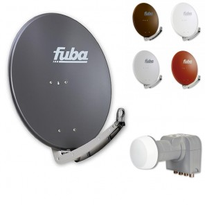 Fuba DAA 780 HD Sat Anlage - 4 Teilnehmer (DEK 416) - Sat Anlage bestehend aus Fuba DAA 780 in Ihrer Wunschfarbe + Fuba DEK 416 Quad LNB
