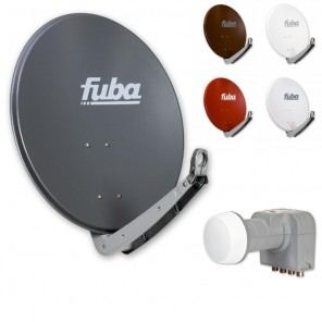 Fuba DAA 650 HD Sat Anlage - 4 Teilnehmer (DEK 416) - Sat Anlage bestehend aus Fuba DAA 650 in Ihrer Wunschfarbe + Fuba DEK 416 Quad LNB
