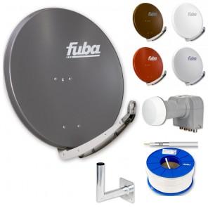 Fuba DAA 850 HD Sat Anlage - 4 Teilnehmer (DEK 416) - Sat Anlage bestehend aus Fuba DAA 850 in Ihrer Wunschfarbe + Fuba DEK 416 Quad LNB + Fuba Wandhalter + 100m Fuba GKA 300