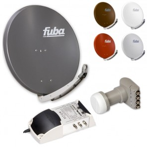 6-Teilnehmer-Sat-Anlage: Fuba DAA 850 in Ihrer Wunschfarbe + Quattro LNB + 5 auf 6 Multischalter