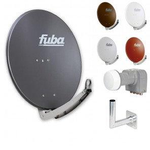 Fuba DAA 780 HD Sat Anlage - 4 Teilnehmer (DEK 416) - Sat Anlage bestehend aus Fuba DAA 780 in Ihrer Wunschfarbe + Fuba DEK 416 Quad LNB + Fuba Wandhalter
