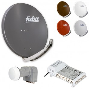 Fuba Digital Sat-Anlage 6 Teilnehmer | Fuba DAA 850 in Wunschfarbe + DEK 407 Quattro LNB + Fuba FMS 506 Multischalter
