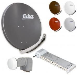 Fuba DAA 850 HD Sat Anlage - 16 Teilnehmer (FMS 516) - Sat Anlage bestehend aus Fuba DAA 850 in Ihrer Wunschfarbe + Fuba DEK 406 Quattro LNB + Fuba FMS 516
