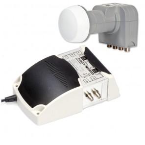 Fuba 4-Teilnehmer Digital Umrüstset - Bestehend aus Fuba DEK 406 Quattro-LNB und ASCI AMS 504 N HDTV Multischalter