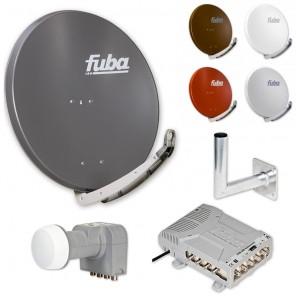 Fuba DAA 850 HD Sat Anlage - 8 Teilnehmer (FMQ 508) - Sat Anlage bestehend aus Fuba DAA 850 in Ihrer Wunschfarbe + Fuba DEK 406 Quattro LNB + Fuba FMQ 508 + Fuba DAZ Wandhalter nach Wahl