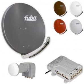 Fuba HD Sat-Anlage 8 Teilnehmer | Fuba DAA 850 in Wunschfarbe + DEK 407 Quattro LNB + Fuba FMQ 508 Profi-Multischalter