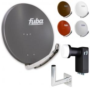 Fuba DAA 850 HD Sat Anlage - 4 Teilnehmer (m. Inverto Quad LNB) - Sat Anlage bestehend aus Fuba DAA 850 in Ihrer Wunschfarbe + Inverto Black Ultra Quad LNB + Fuba Wandhalter
