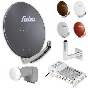 Fuba Digital Sat-Anlage 6 Teilnehmer | Fuba DAA 780 in Wunschfarbe + DEK 407 Quattro LNB + Fuba FMS 506 Multischalter + Winkelwandhalter