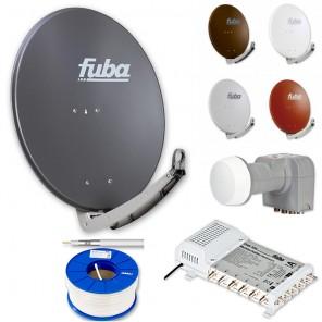 Fuba DAA 780 HD Sat Anlage - 6 Teilnehmer (FMS 506) - Sat Anlage bestehend aus Fuba DAA 780 in Ihrer Wunschfarbe + Fuba DEK 406 Quattro LNB + Fuba FMS 506 + 100m Fuba GKA