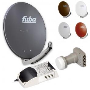 6-Teilnehmer-Sat-Anlage: Fuba DAA 780 in Ihrer Wunschfarbe + Quattro LNB + 5 auf 6 Multischalter