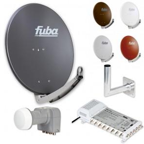 Fuba Digital Sat-Anlage 8 Teilnehmer | Fuba DAA 780 in Wunschfarbe + DEK 407 Quattro LNB + Fuba FMS 508 Multischalter + Winkelwandhalter
