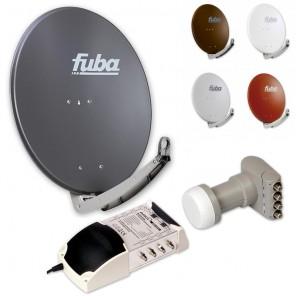 8-Teilnehmer-Sat-Anlage: Fuba DAA 780 in Ihrer Wunschfarbe + Quattro LNB + 5 auf 8 Multischalter