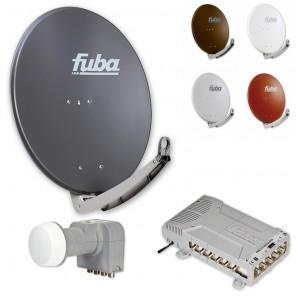 Fuba Digital Sat-Anlage 12 Teilnehmer | Fuba DAA 780 in Wunschfarbe + DEK 407 Quattro LNB + Fuba FMQ 512 Profi-Multischalter
